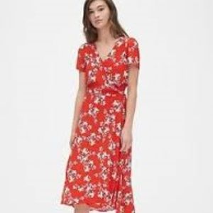 GAP Red Floral Wrap Midi-Length Dress BNWT Med